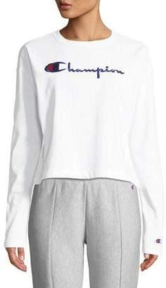 Champion Europe Crewneck Logo Long-Sleeve Crop Top