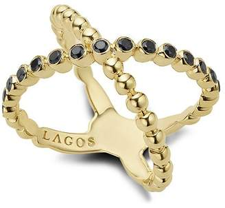 Lagos Gold & Black Caviar Collection 18K Gold & Black Diamond Crossover Ring
