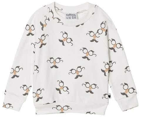 Tobias & The Bear White Funny Face Print Sweatshirt