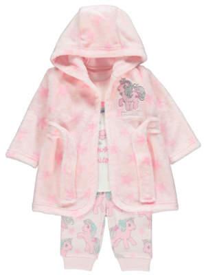 George Pink Unicorn Pyjamas and Dressing Gown Set