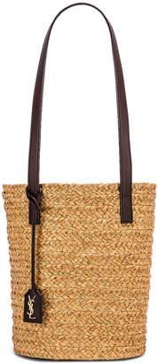 Saint Laurent Small Rafia Panier Bucket Bag in Natural & Nut | FWRD