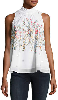 Willow & Clay Sleeveless Smocked-Neck Top, White Pattern $79 thestylecure.com