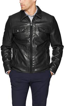 Kenneth Cole Reaction Men's Soft Vegan Leather Collared Jacket