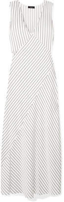 Theory Striped Satin Maxi Dress - Ivory