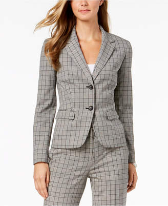 Nine West Two-Button Plaid Jacket