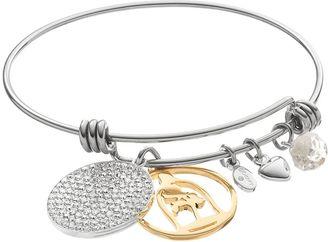 Disney's Beauty and the Beast Two Tone Rose Charm Bangle Bracelet $60 thestylecure.com