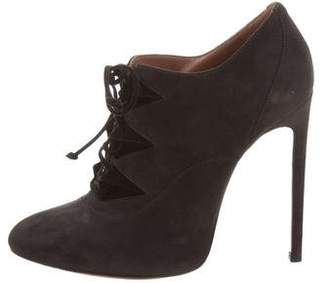 Alaia Round-Toe Suede Booties