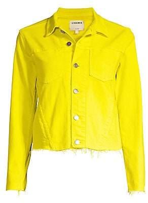 L'Agence Women's Janelle Slim Fit Raw Hem Denim Jacket