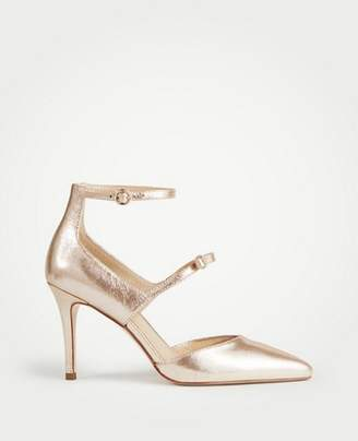 Ann Taylor Leanna Metallic Leather Bow Pumps
