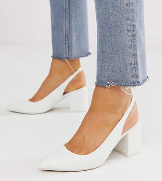 Asos Design DESIGN Wide Fit Samson slingback mid heels in white