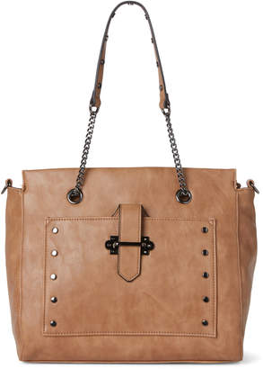Violet Ray Tan Studded Chain Shoulder Bag