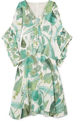 Peter Pilotto Tie-front Printed Silk Dress - Emerald