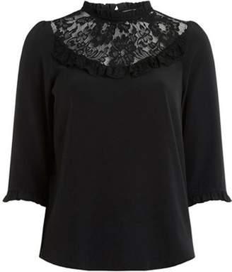 Dorothy Perkins Womens Petite Black Lace Top