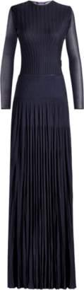 Ralph Lauren Pleated Long-Sleeve Gown