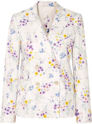 Max Mara Double-breasted Floral-print Linen Blazer - White