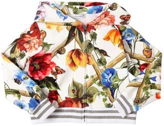Dolce & Gabbana Floral Print Hooded Cotton Sweatshirt