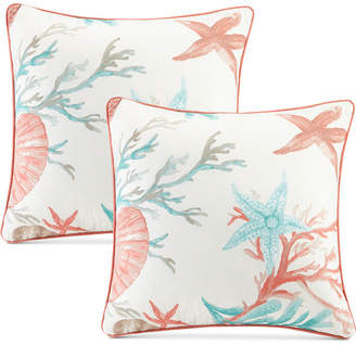 "Madison Park Pebble Beach Reversible 20"" Square Printed Pillow Pair"