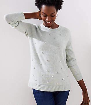 LOFT Pearlized Crystal Sweater