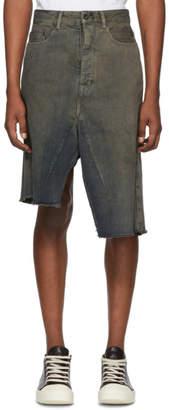 Rick Owens Black Denim Sissyskirt Shorts