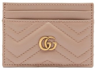 Gucci Gg Marmont Leather Cardholder - Womens - Light Pink