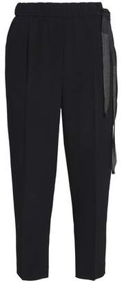 Brunello Cucinelli Cropped Bead-Embellished Crepe Tapered Pants