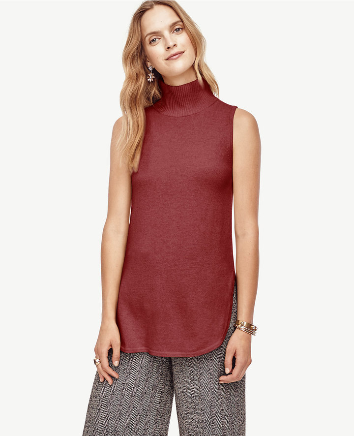 Petite Wool Cashmere Sleeveless Turtleneck Tunic Sweater