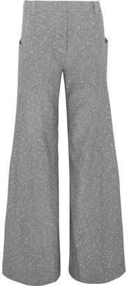 Topshop Wool-blend Tweed Wide-leg Pants - Gray