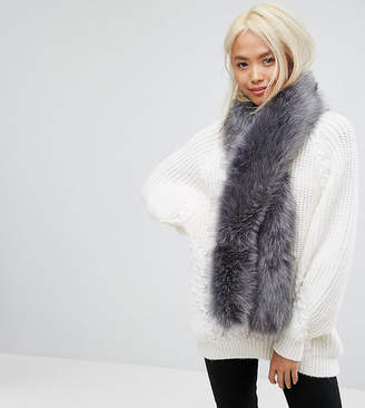 Stitch & Pieces Faux Fur Scarf in Soft Gray