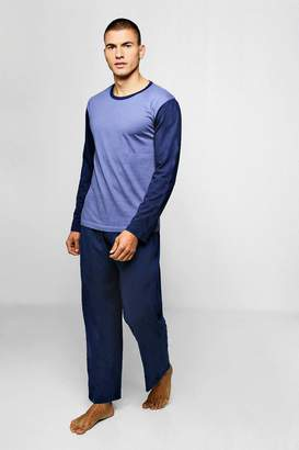 boohoo Mens Colour Block Long Sleeve PJ Set