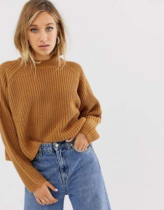 Weekday ribbed oversized jumper in brown
