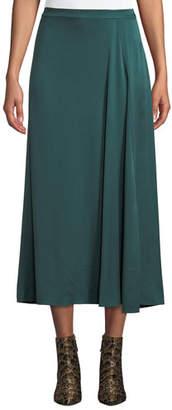 Eileen Fisher Godet-Pleat Silk Charmeuse Skirt, Petite