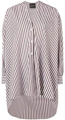 Cavallini Erika striped collarless high low shirt