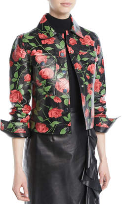 Michael Kors Stemmed Rose-Print Plonge Lamb Leather Jacket