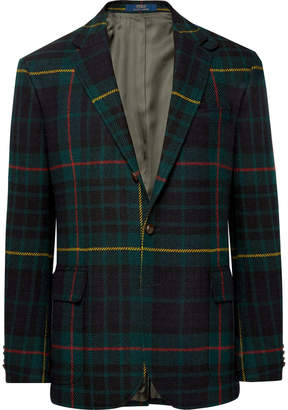 Polo Ralph Lauren Morgan Slim-Fit Nubuck-Trimmed Checked Wool and Alpaca-Blend Blazer