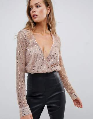 Missguided sequin plunge long sleeve body in gold