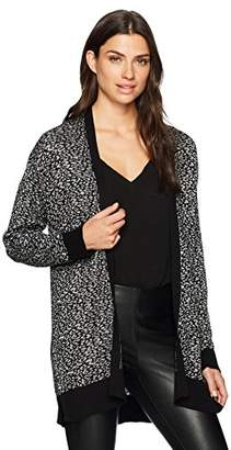 Chaus Women's L/s Animal Jacquard Cardigan W/Lurex