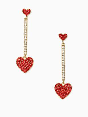 Kate Spade YOURS TRULY pave heart linear earrings