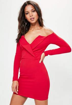 Missguided Red Bardot Foldover Wrap Dress