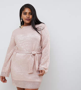 Club L Plus allover sequin shift dress with belt detail in soft pink