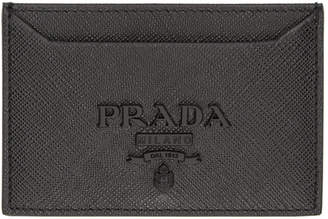 Prada Black Saffiano Tonal Logo Card Holder
