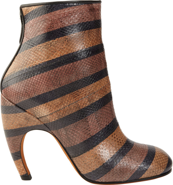 Givenchy Striped Snakeskin Ankle Boot