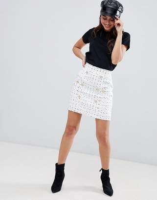 Asos DESIGN boucle double breasted mini skirt with gold buttons