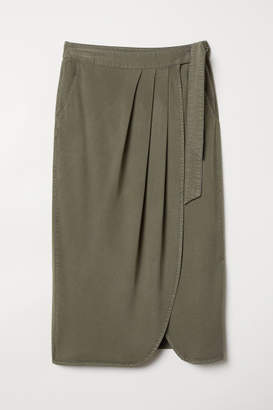 H&M Lyocell-blend Wrapover Skirt - Green