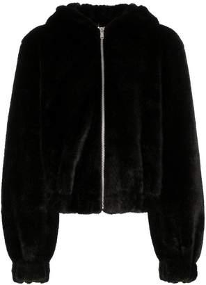 Helmut Lang teddy hood faux fur jacket