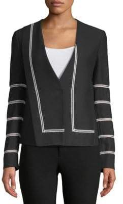 Derek Lam Collarless Lace Inset Jacket