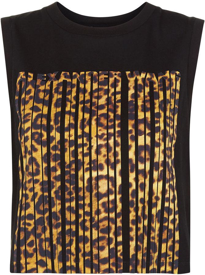 Alexander WangAlexander Wang Matrix Cropped Leopard Barcode Tank