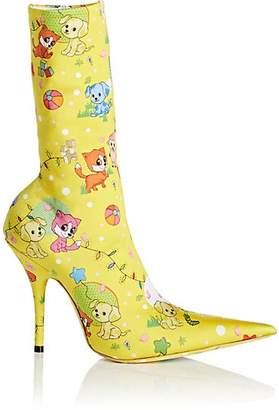 Balenciaga Women's Knife Tech-Jersey Ankle Boots - Yellow