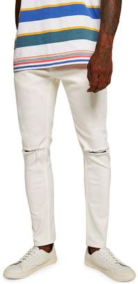 Topman Double Knee Rip Stretch Skinny Jeans