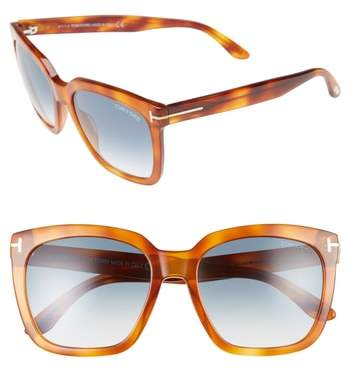 Women's Tom Ford Amarra 55Mm Gradient Lens Square Sunglasses - Blonde Havana/ Gradient Blue