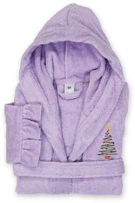 Asstd National Brand Linum Kids 100% Turkish Cotton Hooded Terry Bathrobe With Ruffle - Christmas Tree Design